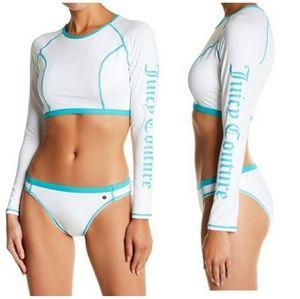 Juicy Couture long sleeve rash guard 2 piece suit